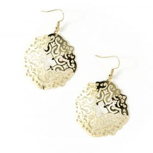 """These earrings are made of solid brass with a 24k gold finish, and depict the pattern on the Minton tile ceiling at Bethesda Terrace Arcade in Central Park. Packaged in a gift box, each earring measures approx. 1 1/2"""" in length and 1 1/2"""" wide. The ear wi"""