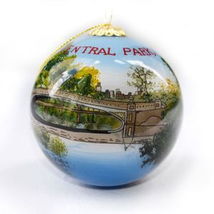 Each globular Bow Bridge glass ornament is painstakingly hand-painted from the inside.  Central Park, NYC is inscibed on the side. Each ornament is packaged in a gift box. Given the effort involved in creating these ornaments, no two pieces are ever ident