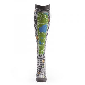 The knee-high charcoal colored socks show Manhattan's street grid with Central Park prominently displayed. Unisex and fit most sizes. Comprised of 80% cotton, 19% nylon, and 1% spandex.