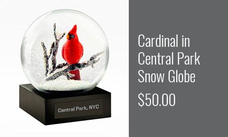 Cardinal in Central Park Snow Globe